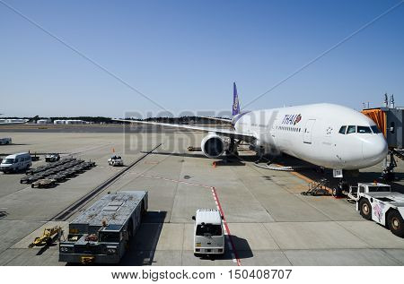Boeing 777-3D7 Of Thai Airways At Narita Airport. Japan
