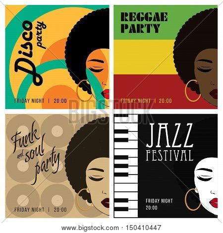 Disco party event flyers set. Reggae fank and soul jazz posters. Collection of the creative vintage posters. Vector retro style template. Front view portrait of a black woman face