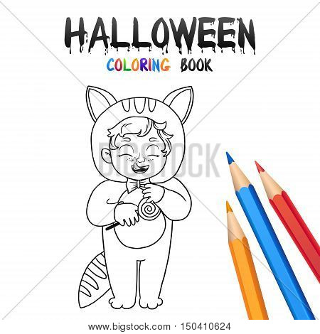 Kid Cat Costume. Halloween Coloring Book. Illustration for children vector cartoon character isolated on white background.