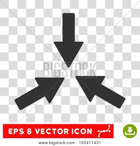 Collide Arrows round icon. Vector EPS illustration style is flat iconic symbol, gray color, transparent background.