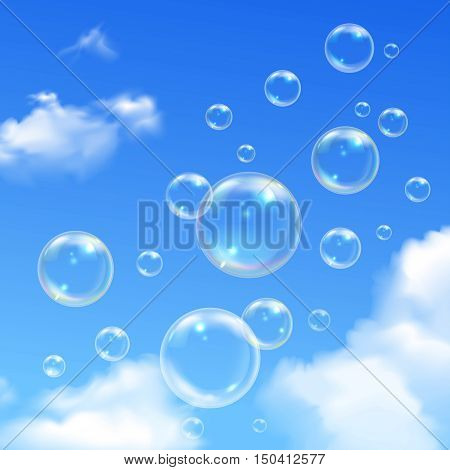 Soap bubbles soaring outdoor on sunny summer day realistic image poster with blue cloudy sky background vector illustration