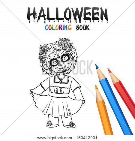 Cheerful Girl in Halloween Costume Dead Girl Skull. Halloween Coloring Book. Santa Muerte concept. Illustration for children vector cartoon character isolated on white background.