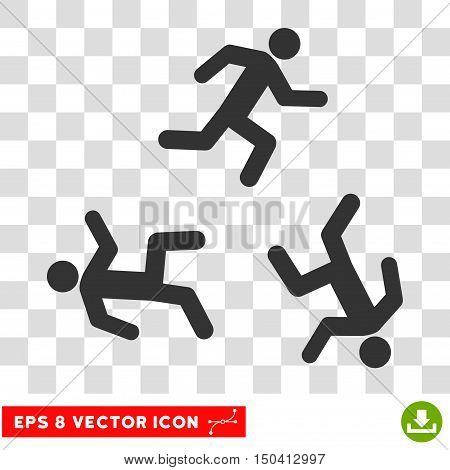 Running Men round icon. Vector EPS illustration style is flat iconic symbol, gray color, transparent background.
