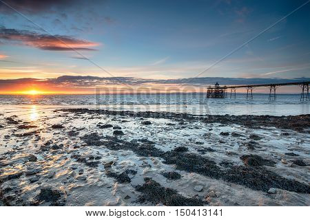 Sunset At Clevedon Pier