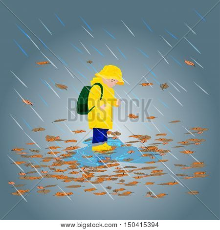 Kid in raincoats and rubber boots in the rain illustration
