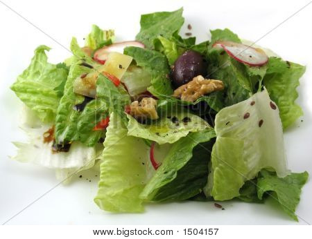 Tossed Salad On A White Plate