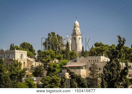 JERUSALEM ISRAEL - OCTOBER 5: The Dormition Abbey outside the walls of the Old City in Jerusalem Israel on October 5 2016