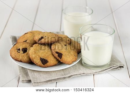 Homemade Cookies With Milk On The Table.