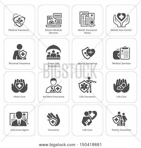 Insurance and Medical Services Icons Set. Flat Design. Isolated Illustration. Life and Health Insuranse Symbol. Personal and Group Life Insurance Symbol. Life and Heart Care Symbol.