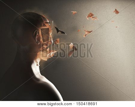 3D Rendering of face of a man who crumbles