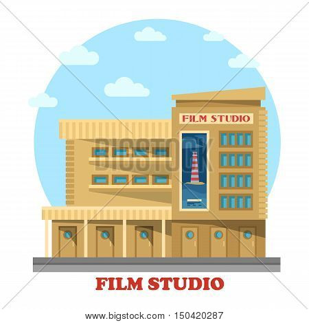 Film or movie studio building facade. Architecture of construction for modern production company or studio facility, TV or famous television production. Panorama of structure for entertainment or art