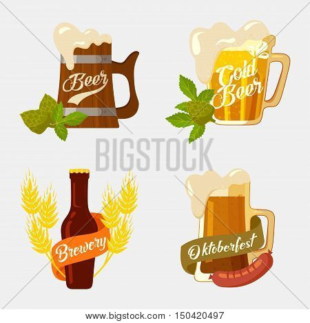 Beer in wooden and glassware mug with foam, bottle with brewery ribbon and hop or barley, sausage for snack. Set of logotypes for restaurant and oktoberfest. Alcohol or booze theme