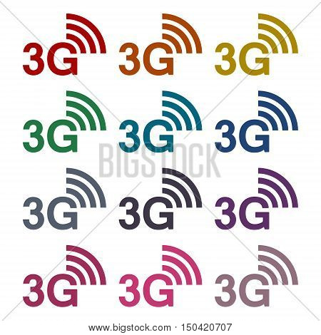 Color 3G sticker set on white background