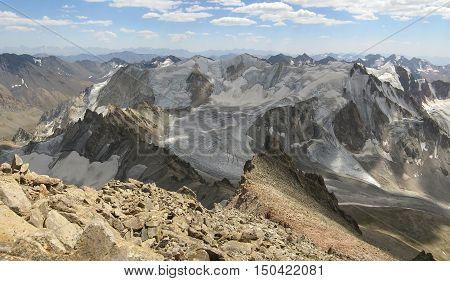 The Western Tien-Shan. Uzbekistan. Glacier right Barkrak.