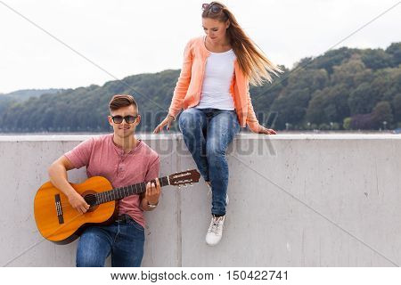 Girl Listening To Serenade.