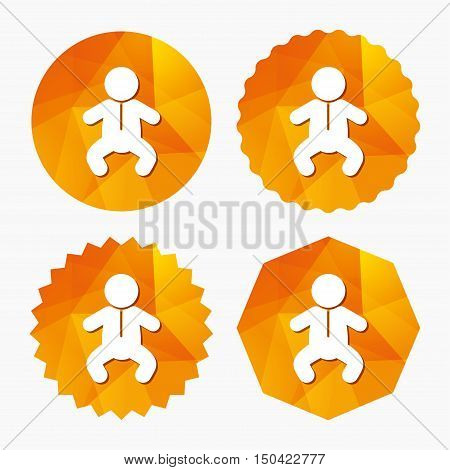 Baby infant sign icon. Toddler boy in pajamas or crawlers body symbol. Child WC toilet. Triangular low poly buttons with flat icon. Vector
