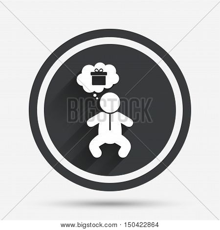 Baby infant think about gift box sign icon. Toddler boy in pajamas or crawlers body symbol. Circle flat button with shadow and border. Vector