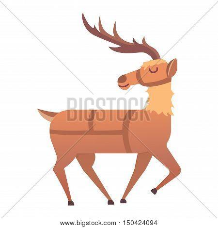 Cute deer cartoon comic wild vector character. Vector wild mammal cartoon deer celebration, humor mascot. Elk antler clip art holiday symbol stag nature cartoon deer forest animal. Christmas deer
