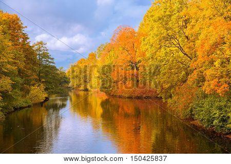 Fall landscape. Autumn park, lake, leaves and sun