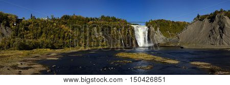 Panorama of Montmorency waterfall  in Quebec, Canada