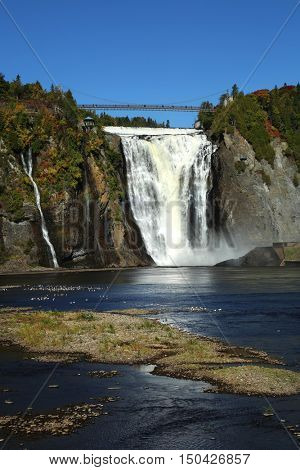 Beautiful view of Montmorency waterfall in Quebec, Canada