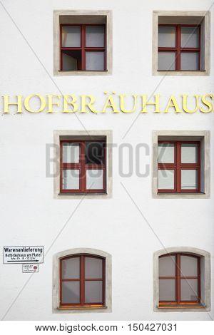 MUNICH, GERMANY - MAY 18, 2016: Signboard of Hofbraeuhaus beerhouse in Munich
