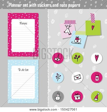 Planner set. Note paper, Notes, to do list. Organizer planner template.  Set of New year and Christmas stickers.