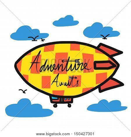 Adventure awaits on yellow airship cartoon illustration
