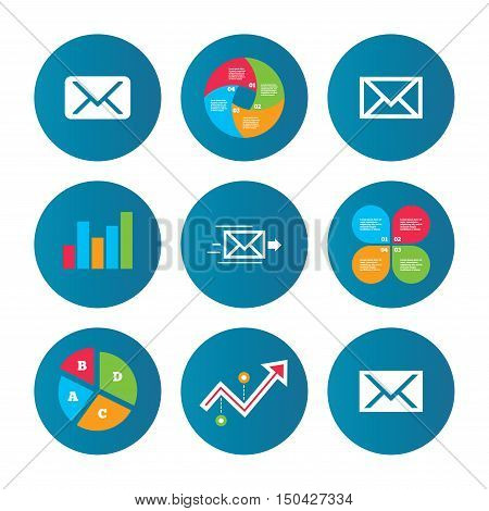 Business pie chart. Growth curve. Presentation buttons. Mail envelope icons. Message delivery symbol. Post office letter signs. Data analysis. Vector