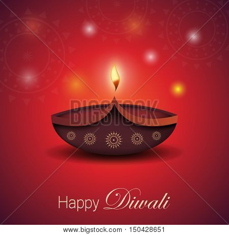 Diwali greeting card vector photo free trial bigstock diwali greeting card burning diya festival of lights vector illustration m4hsunfo