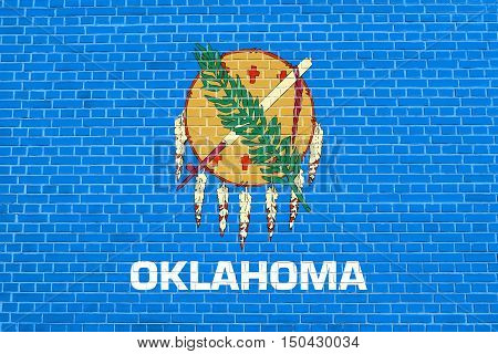 Oklahoman official flag symbol. American patriotic element. USA banner. United States of America background. Flag of the US state of Oklahoma on brick wall texture background, 3d illustration