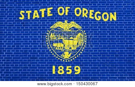 Oregonian official flag symbol. American patriotic element. USA banner. United States of America background. Flag of the US state of Oregon on brick wall texture background, 3d illustration