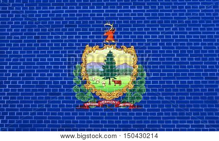 Vermonter official flag symbol. American patriotic element. USA banner. United States of America background. Flag of the US state of Vermont on brick wall texture background, 3d illustration
