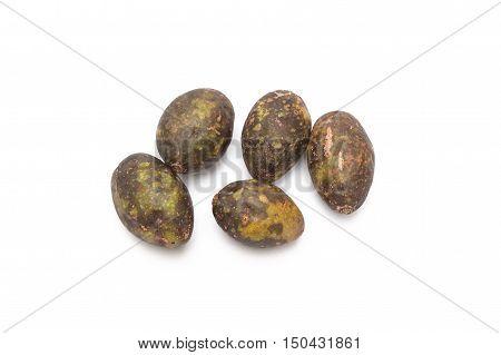 Jew's plum Otatheite apple isolated on the white background. Scientific name Spondias cytherea Sonn.