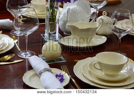 Elegant Festive Dinner Party Table.
