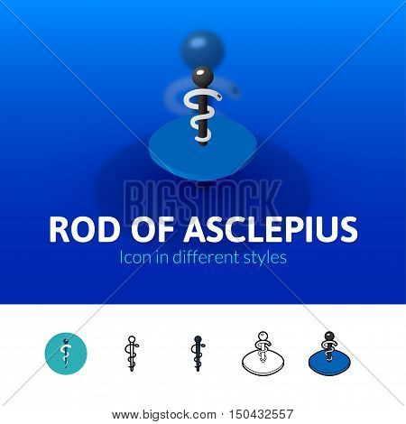 Rod of Asclepius color icon, vector symbol in flat, outline and isometric style isolated on blur background