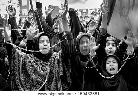 Istanbul, Turkey - November 3, 2014: Mourning of Muharram in Turkey. A Universal Ashura Mourn Ceremony was held in Istanbul to commemorate the martyrdom of Husain ibn Ali the grandson of the Prophet Muhammad and his 71 friends.