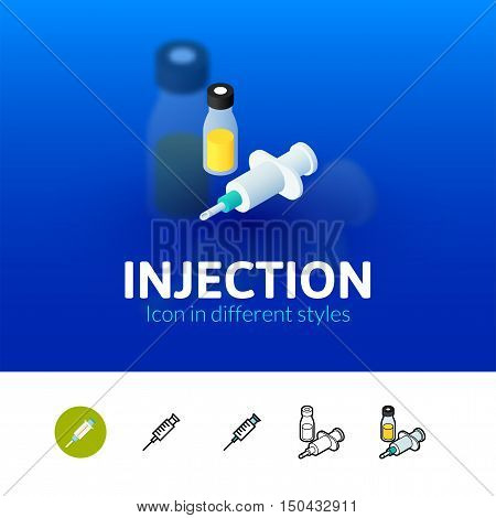 Injection color icon, vector symbol in flat, outline and isometric style isolated on blur background