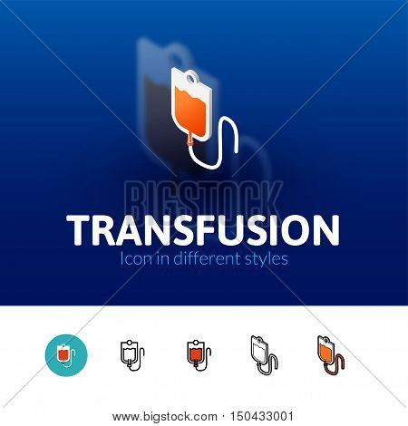 Transfusion color icon, vector symbol in flat, outline and isometric style isolated on blur background