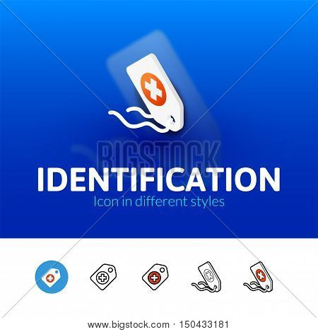 Identification color icon, vector symbol in flat, outline and isometric style isolated on blur background