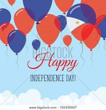 Philippines Independence Day Flat Greeting Card. Flying Rubber Balloons In Colors Of The Filipino Fl