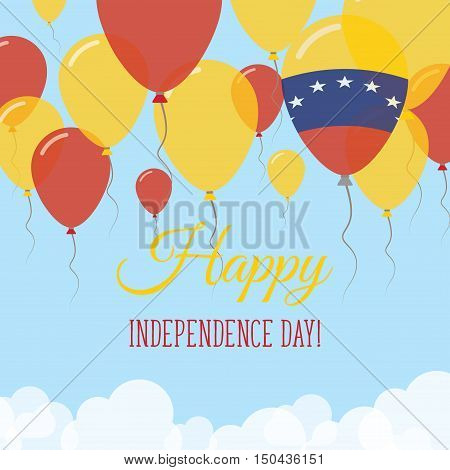Venezuela, Bolivarian Republic Of Independence Day Flat Greeting Card. Flying Rubber Balloons In Col