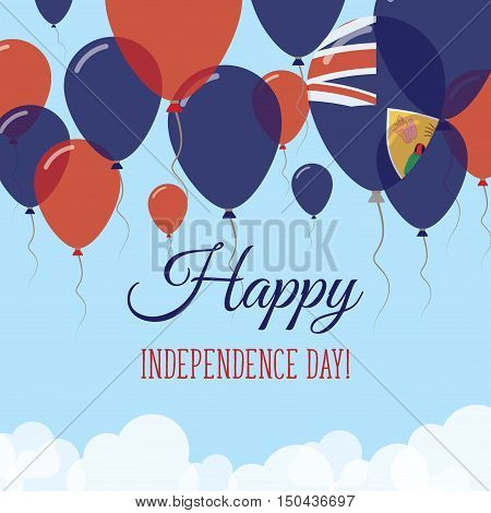 Turks And Caicos Islands Independence Day Flat Greeting Card. Flying Rubber Balloons In Colors Of Th