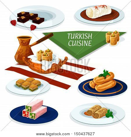 Turkish and ottoman cuisine desserts with coffee cartoon icon of nut and honey nougat, pistachio baklava, chocolate cake with walnut, fried cake with syrup, feta rolls, chicken pudding