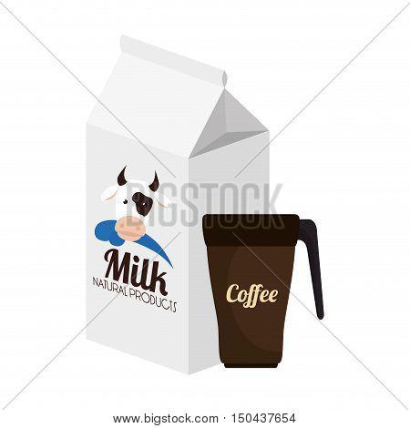 milk box and coffee mug. caffeine beverage. vector illustration