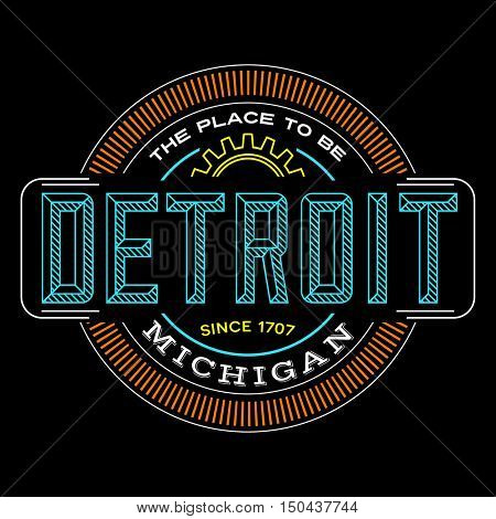 detroit, michigan linear logo design for t shirts and stickers