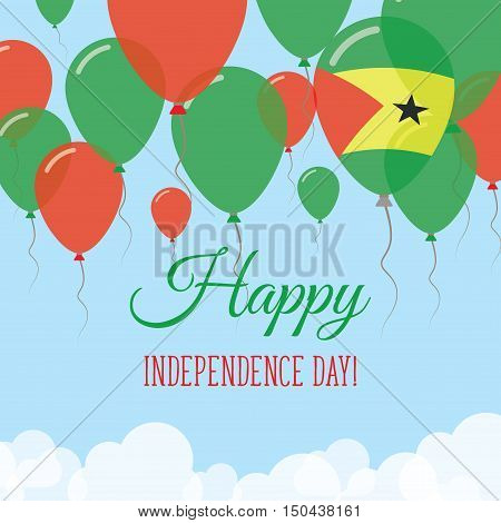 Sao Tome And Principe Independence Day Flat Greeting Card. Flying Rubber Balloons In Colors Of The S