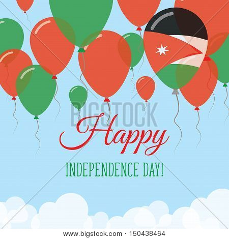 Jordan Independence Day Flat Greeting Card. Flying Rubber Balloons In Colors Of The Jordanian Flag.