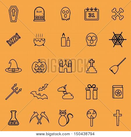 Halloween line color icons on orange background, stock vector