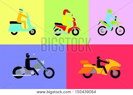 simple vector of man riding various type of motorbikes include scooter, enduro, chopper, touring
